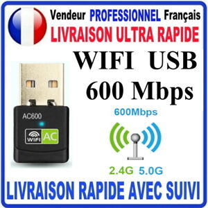CLE USB WIFI USB ADAPTATEUR 600 Mbps DONGLE USB DOUBLE BANDE RAPIDE PC