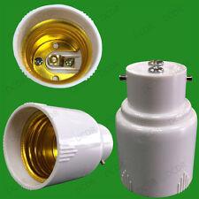 40x White Bayonet BC B22 To Edison Screw ES E27 Light Bulb Adaptor Lamp Holder