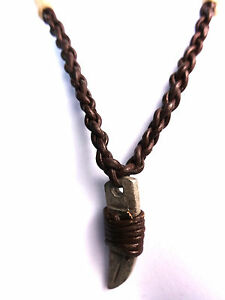 UNIQUE BROWN LEATHER MENS NECKLACE METAL TOOTH RETRO STYLISH  (CL1)