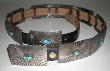 Huge Lg Old Vtg Southwest Silver Concho Choncha Belt Turquoise Stone Inlay 770g