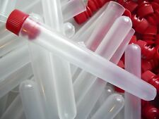 250 Count 13mm x 100mm Plastic Test Tubes Frosted/Clear With Red Caps, New