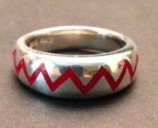 VTG SW Sterling Flush Inlay Red Enamel CHEVRON ZIG ZAG Band Ring Size 6.75