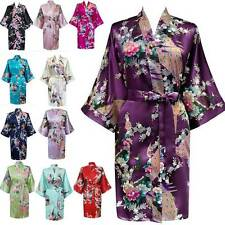 Bridesmaid Wedding Robes Kimono Bridal Peacock Satin Bath Dressing Gown Floral