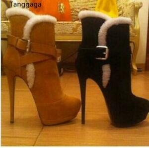 Winter Women's Fur Trim Ankle Boots Stiletto High Heels Buckle Strap Party Boots