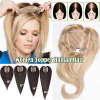 Mono Silk Base Clip in Remy Human Hair Topper Top Piece Toupee Half Wigs Mix US