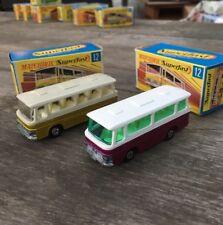 2x Matchbox Superfast No.12 Setra Bus/Coach Crimson/Plum & Gold 1970 with Boxes