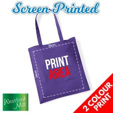 Custom Screen Printed Personalised Tote Bag - 2 Print Colour Bags Logo Text Lot