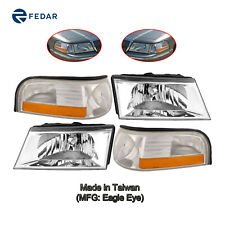 Headlight & Signal Light Fit 2003 2004 2005 Mercury Grand Marquis Pair Set