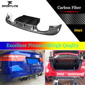 Auto Rear Bumper Diffuser Spoiler Lip Fit For Jaguar XE 2015-2017 Carbon Fiber