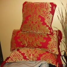 Chenille Red and Gold Pillows Set  x 3