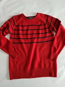 """WoolOvers Vintage Pure New Wool Jumper Size Small Red Black Striped 40"""" Chest"""