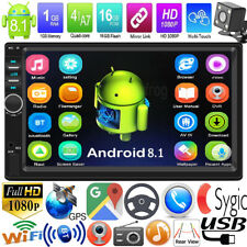 "Android 8.1 7"" Double 2Din Quad Core GPS Navi WiFi Car Stereo MP5 Player AUX Cam"