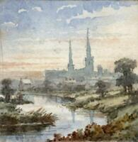 HENRIETTA HOWARD Miniature Watercolour Painting CATHEDRAL LANDSCAPE c1856 - TINY