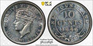 1946-C Newfoundland 10 Cents PCGS AU58 Lot#A211 Silver!