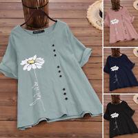 2021 ZANZEA Women Summer Vintage Retro Bohemian Floral Blouse Top Tee T-Shirt