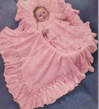Baby Shawl, Dress, Coat and Bonnet Vintage Knitting Pattern 2ply 972