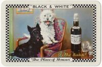 Playing Cards Single Card Old BLACK WHITE Whisky Advertising TERRIER DOGS Dog 9