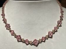 "16' TO 18"" PINK TOPAZ CRYSTAL COLLECTION NECKLACE MADE WITH SWAROVSKI CRYSTALS"