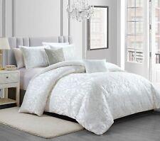 Gloria 5-Piece White Floral Textured Jacquard Comforter or Curtain Set