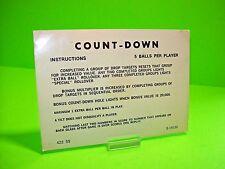 Gottlieb COUNT-DOWN Orig Pinball Machine Instructions Card 2-Sided 3/5 Balls #2