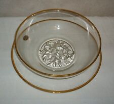 """Gailstyn It's a """"Dilly"""" 22 Karet Gold Decorated Glass Salad Bowl with Plate 2 pc"""