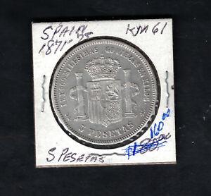 1871 Spain 5 Pesetas Silver Coin Y 61