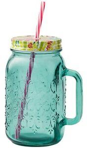Pioneer Woman 32 oz Drinking Mason Jar Mug Handle Lid Straw Sunny Days Teal NEW