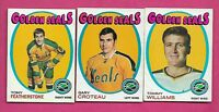 1971-72 TOPPS GOLDEN SEALS FATHERSTONE RC + CROTEAU + WILLIAMS CARD (INV# A8633)