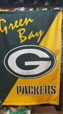 "GREEN BAY PACKERS BANNER 27"" X 42"" NFL FLAG SIGNED BY DAVE ROBINSON"
