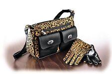 Damen Set LEOPARD Handtasche und Handschuhe Tasche Leder Optik Damentasche FM