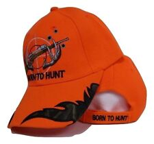 Born to Hunt Forced to Work Rifle Hunting Neon Orange Camo Ball Cap Hat