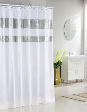 "Pure White Fabric Shower Curtain : Silver Metallic Accent Stripes 72"" W x 72"" L"