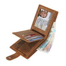 RFID Mens Real Leather Wallet With ID & Coin Pocket Gift Boxed 1212 Hunter Brown