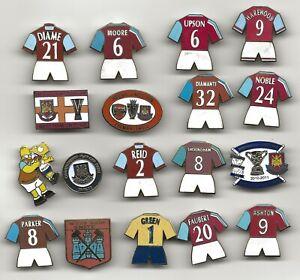 West Ham United Football Badges Pins x 18 Hammers