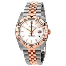 Rolex Datejust White Index Dial 18k Rose Gold Turn-o-Graph Bezel Jubilee