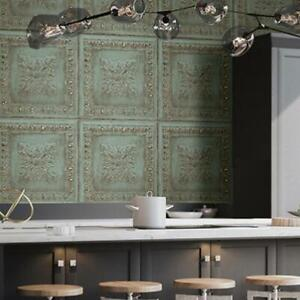 Powder Coated Tin Tile Effect Wallpaper | Aqua Green & Metallic Copper / Brass