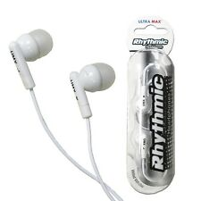RHYTHMIC WHITE EARPHONES MP3 PLAYER IPOD 3.5MM JACK ULTRA MAX