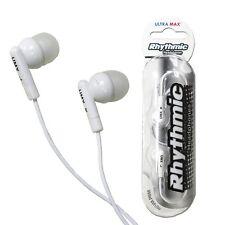 RHYTHMIC WHITE EARPHONES MP3 PLAYER IPOD 3.5MM JACK ULTRA MAX