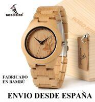 Reloj de madera de Bambú. Hombre o mujer.1 Año de Garantía - Handmade Wood Watch