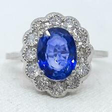 Antique Deco 950 Platinum 1.80ctw Blue Sapphire & G-SI Diamond Ring Size 7 3.8g