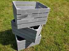 More details for 3 pack - large wooden grey crate apple box storage shop display unit vintage