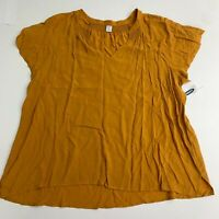 NWT Old Navy Top Blouse Women's XL Marigold Flowy V-Neck Short Sleeve Viscose