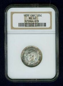 CANADA  GEORGE VI  1939  25 CENTS SILVER COIN, UNCIRCULATED, NGC CERTIFIED, MS62