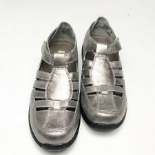 Drew Womens Size 9W Shoes Ginger Fisherman Comfort Otho Leather Wide Silver $170