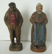 Old Man & Woman Carved Figurines Distressed Small Statues