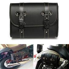 Motorcycle Saddle Luggage Leather Bag Storage Saddlebag Black For Harley Touring