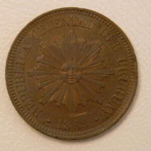Uruguay 2 centesimos 1869H; K-12