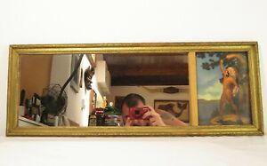 Vtg GOLD WOOD FRAMED MIRROR W/ INDIAN ART DECO PRINT Maiden; Atkinson Fox Relyea