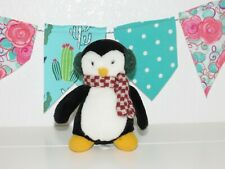 "Debbie Mumm Penguin Plush Hugsy McFinn Earmuffs Friends Mervyn's Christmas 6"""