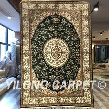Yilong 4'x6' Green Handknotted Silk Carpet Medallion Oriental Area Rug WY230C